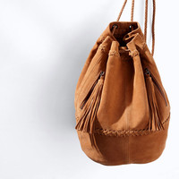 COMBINED LEATHER AND SUEDE BUCKET BAG