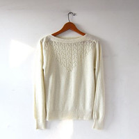 Vintage Natural White Sweater. Crochet Sweater. Open Knit Sweater with Beads. Loose Knit Sweater. Sheer Sweater Top.