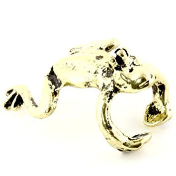 Frog Prince Ear Cuff Gold Tone Fairy Tale Animal CE33 Clip on Earring Fashion Jewelry
