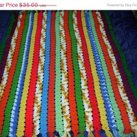 ON SALE Hand Crocheted Mile A Minute Stripe Afghan