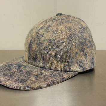 Vintage 40's 50's Union Made Sanforized Adjustable Elastic Acid Wash Denim Hat Made In USA