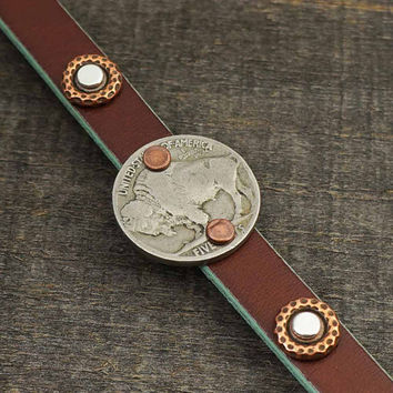 Leather cuff and coin bracelet, buffalo nickel jewelry, mixed metal silver copper, 7 1/2 inches