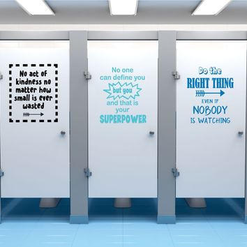 Kindness Project Quotes School Bathroom Decals, Boys or Unisex All 5 Positive Esteen Quote Decals for Schools, Kids, Teachers Set B