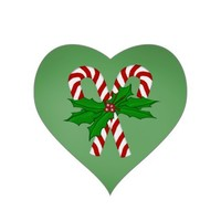 Heart Shaped Christmas Candy Cane Stickers