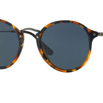 Ray Ban Round Fleck Sunglasses Spotted Blue Havana with Grey lenses RB2447 1158R5