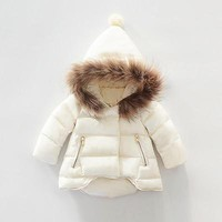 Natural fur Girls outerwear snowsuit thick jackets Baby girl Casual fashion down coat 2016 Warm Coat winter infant hooded Coat