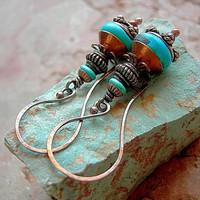 Turquoise & Copper Earrings .Tribal Style Natural Copper, Sky Blue Gemstone