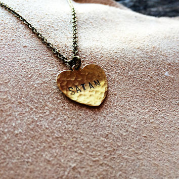 Satan - Rustic Hammered Stamped Handmade Heart Pendant Necklace - Satan pendant - Satan necklace - Occult pendant - Esoteric necklace - Goth