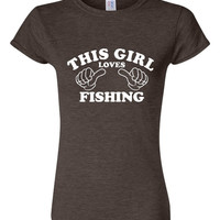 This Girl Loves Fishing Tshirt. Sport Shirts For All Ages. Great Shirt Ladies and Unisex Style Shirt.  Makes a Great Gift