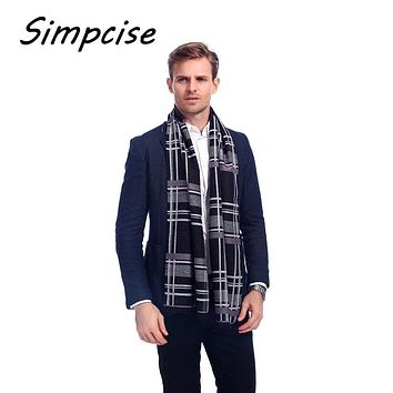 [Simpcise] Wool Plaid Scarf Man Winter Brand Scarf Men Fashion Designer Shawl Bussiness Casual style Scarves Wraps A3A18820