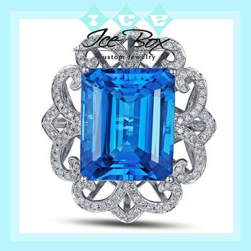 Blue Topaz Engagement Ring 22.5ct 17x14mm Emerald Cut in a 14k White Gold Diamond Filigree Halo Setting