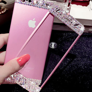 Handmade Ultra-thin Premium iPhone 7 6 6s Plus Toughened Glass Screen Protector with Diamond + Gift Box