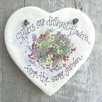 Sister Gift Salt Dough Heart Ornament