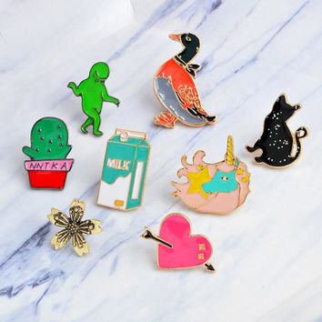 Trendy Cartoon Green man Cactus black cat duck horse milk heart Brooch Pins DIY Button Pin Denim Jacket Pin Badge Gift Jewelry AT_94_13