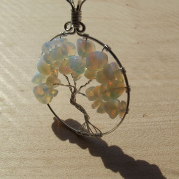 Wire Pendant - Opalite Tree of Life Silver Plated Pendant