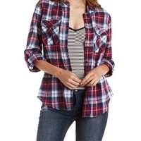Burgundy Cmb Plaid Flannel Button-Up Shirt by Charlotte Russe