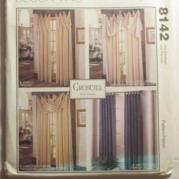 SALE Uncut 1996 McCall's Sewing Pattern, 8142! Window Treatment/Curtains/Home Decor/Croscill Home Fashions/Drapes/Panels/Valances/Swag/Loop