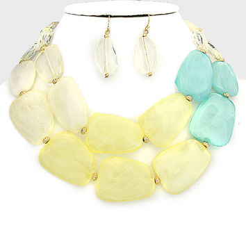Statement Bead Necklace Yellow