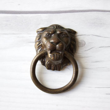 Small Vintage Brass Lion's Head Door Knocker | Drawer Knob Pulls | Vintage Hardware Metalware