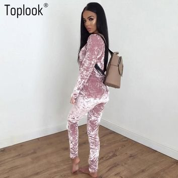 Toplook 2017 Slim Elegant Velvet Romper Female Sexy Pink Long Sleeve One Piece Women Full Pants Overalls Elegant Black Jumpsuit