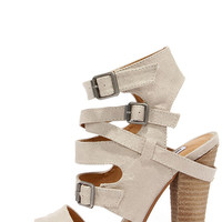 Not Rated Solana Cream Peep Toe Caged Heels