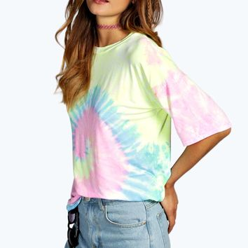 Kacey Washed Out Tie Dye Swirl Oversized Tee