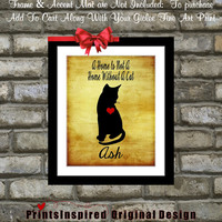 Custom Cat Art Print Gift: Personalized Pet Portrait Add ANY Breed Name Cute Silhouette Best Cat Lover Gift Pet Kitty Rustic Wall Art Decor
