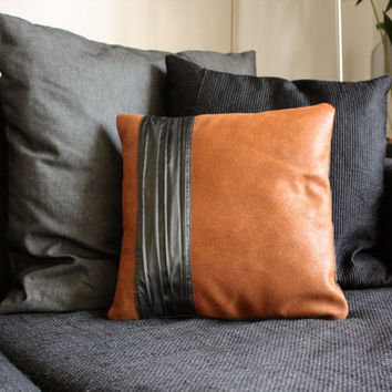 "Leather pillow case - brown leather pillow cover with gray band - luxury sofa cushion - 16""x16"" - Gray cotton backside"