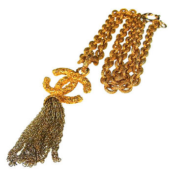 Chanel Vintage Costume Jewelry Fringe Long Necklace CC Charm Pendant, at HauteDecades on Etsy