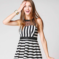 Black Striped Embroidered Dress
