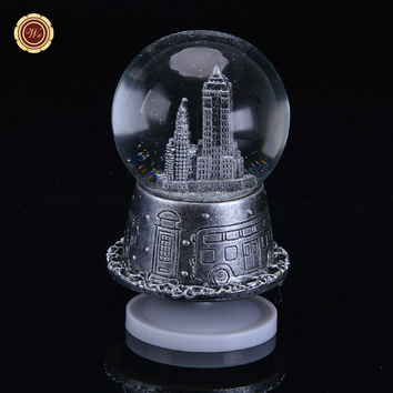 WR Silver Crystal Ball New Year Gift Creative Building Music Box Christmas Gift Wedding Decoration Snow Flake Valentine Ideas