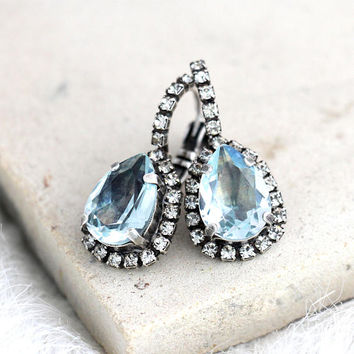 Aquamarine Earrings, Light Blue Earrings, Bridal Aquamarine Drop Earrings, Blue  Drop Earrings, Light Azore Earrings, Swarovski Earrings