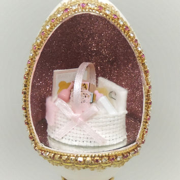Miniature Basketful of Baby Shower Gifts for Baby Girl Baby Shower Gifts Home Decor Faberge Style Decorated Goose Egg Art Ornament