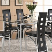 Los Feliz Contemporary Metal Dining Table With Glass Top by Coaster Furniture