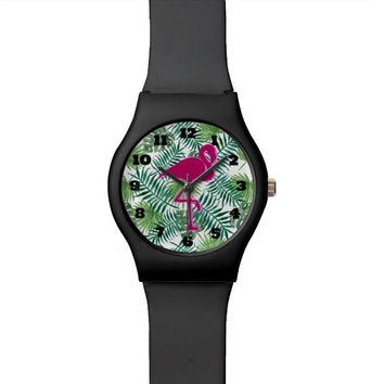 Tropical Leaves Pattern and Pink Flamingo Wrist Watch