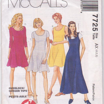 1 Hour Pullover scoop neck knit dress pattern, knee or calf length, short or long sleeves or sleeveless misses size 4 6 8 McCalls 7725 UNCUT