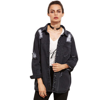 Grey Ripped Hidden Button Front Denim Jacket
