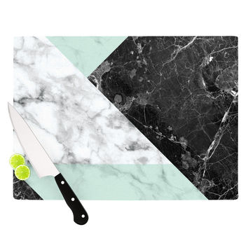 "KESS Original ""Geo Marble and Mint"" Black Art Deco Cutting Board"