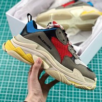 Balenciaga Triple S Trainers Grey Blue Red Sneakers - Best Online Sale
