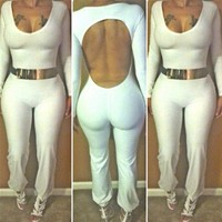 Off White Open Back Jumpsuit