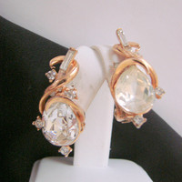 Vintage Modernist Rhinestone Gold Tone Clip Earrings * Wedding * Bridal * Large Faceted Glass Pears * Baguettes * Chatons * Jewelry *