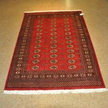 4x6 Red Bokhara (51 x 75 in) Handmade Medallion All-Over Design New Rug