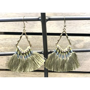 Request More Time Sage Tassel Earrings