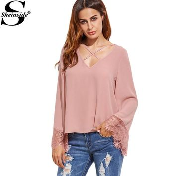 Women Full Sleeve Shirts Blouses Fashion Women Clothes Pink Crisscross V Neck Lace Trim Top Blouse