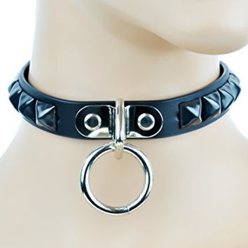 Black O Ring Leather Choker with Black Pyramid Studs Collar
