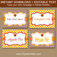 Friendsgiving Labels, PRINTABLE Thanksgiving Buffet Cards Digital Download, Fall Place Cards, Candy Buffet Labels, EDITABLE Tent Cards T4