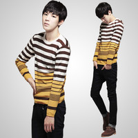 Men's Korean Style Round Neck Casual Striped Sweater Cardigans T-Shirt Jumpers