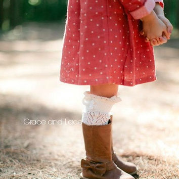 Lil Dainties - ivory lacey open-knit girls boot socks w/ knit lace trim and buttons - legwarmers - lace socks