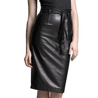 BGSD Women`s Belted Lambskin Leather Pencil Skirt