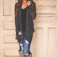 CHARCOAL KNIT OPEN CARDI